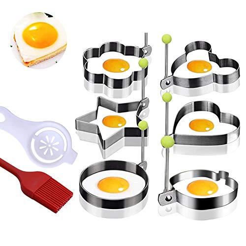 Spiegelei Form Pfannkuchenform, Keks, Kuchen, Edelstahlform, Eiweißabscheider, Silikonölbürste,...