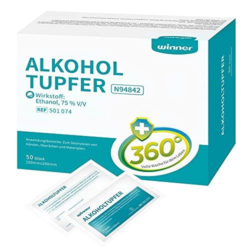 Winner Medical 75% Ethanol Alkoholtupfer,groß,4-lagige quadratische Wattepads, gut getränkt mit...