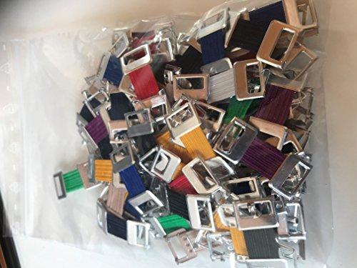100 Schwab Verbandklammern farbig,Verbandklammern Mix, sortiert mit Gummiband