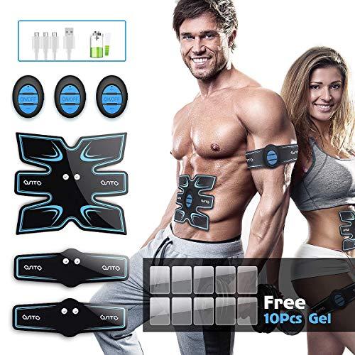 EMS Muskelstimulator, OSITO ABS Trainingsgerät/Elektrisch Bauchmuskeltrainer, 3 in 1 USB Aufladung...