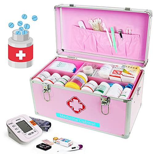 DDHVVOH Medikamenten-Aufbewahrungsbox,Alu Medizinkoffer,Erste Hilfe Koffer,Tragegriff,Einfach Zu...