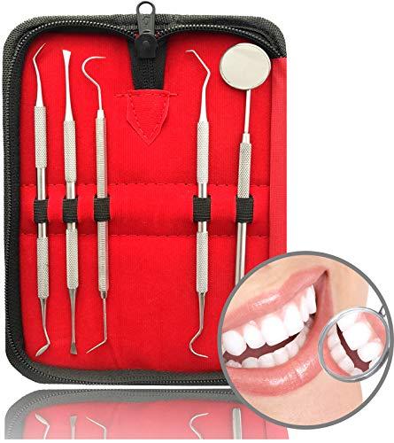 5er Dental Zahnpflege Set   Professionelle Zahnreinigung Zahnsteinentferner   Zahnsonde Mundspiegel...