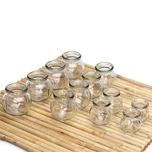 Lunata 12x Schröpfgläser zum Feuerschröpfen, Anti Cellulite Saugglocke, Massageglas, FEUER...