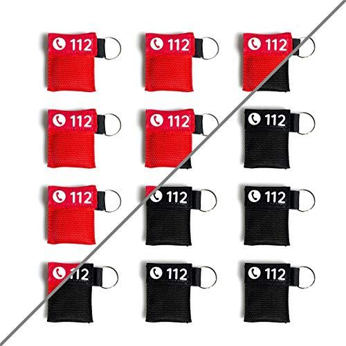 12x Beatmungsmaske Schlüsselanhänger | rot oder schwarz | FLEXEO | CPR Maske | Mund zu Mund...