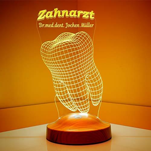 Geschenkelampe Personalisierte Geschenke für Zahn Arzt Zahnärztin Praxis 3D Led Lampe...