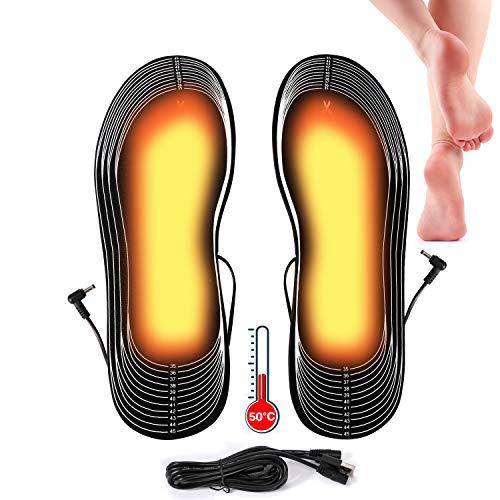 Lyeiaa Beheizbare Einlegesohlen, Elektrischer Fußwärmer, Sohlenwärmer Schuheinlagen Wärmesohle...