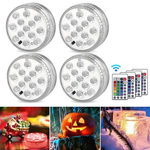 AODOOR Unterwasser Licht, RGB Multi Farbwechsel wasserdichte LED Leuchten für Vase Base...