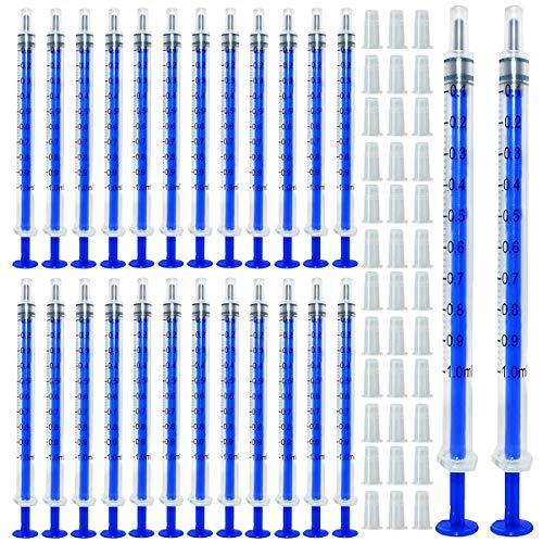 Gebildet 100pcs 1ml Spritzen, Öl-Dosierungsspritze (ohne Nadeln) mit Kappen, für Kleine...
