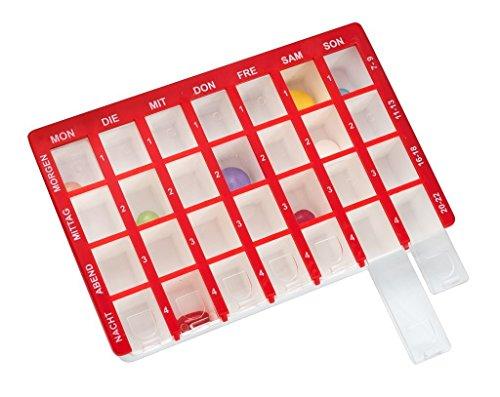 Pflegehome24® Arzneikassette Pillenbox Pillendose, Rot 7-Tage, 1 Woche