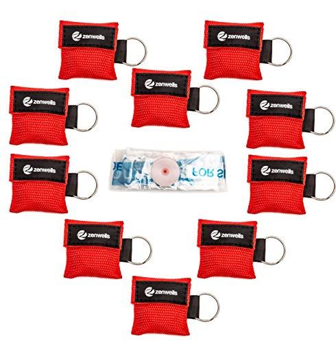 Beatmungsmaske Schlüsselanhänger 10 Stück (rot) - CPR Maske Face Shield - Erste Hilfe...