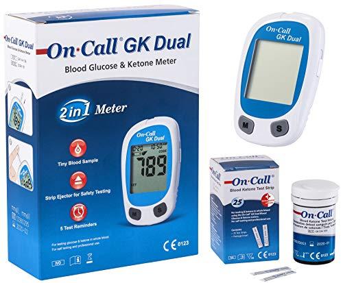 On Call GK Dual Ketone Pack | 1 x GK Dual Messgerät (mmol/l) und 1 x Ketone Teststreifen (25...