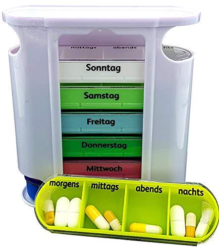 M&H-24 Tablettenbox Pillenbox Medikamentenbox für 7 Tage - Pillendose Tablettendose Wochendosierer...