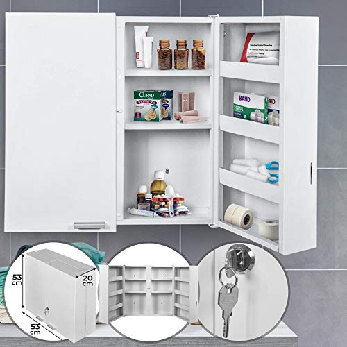 Jago® Medizinschrank - abschließbar, 11 Fächer, XXL, Stahl, 2 Tür, 53x53x20cm, Weiß -...
