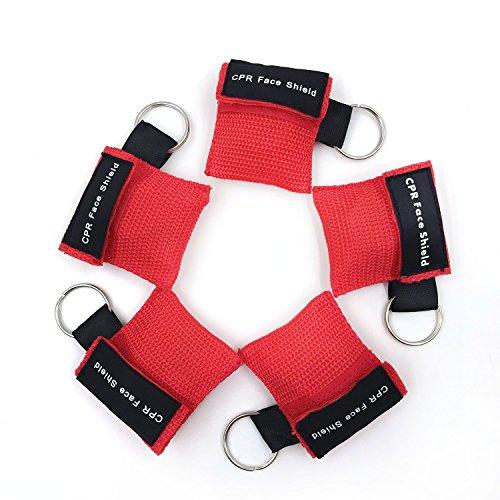 CPR Maske Schlüsselanhänger Ring Emergency Kit Rescue Face Shields mit Einweg-Ventil Atem Barriere...