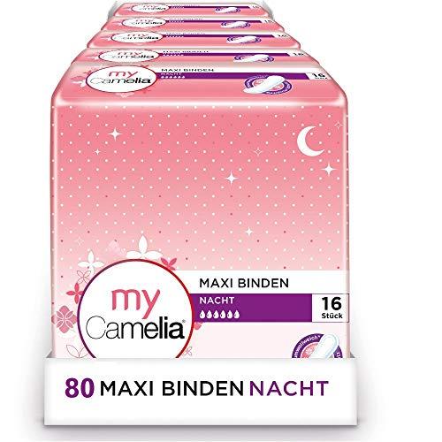 Camelia Maxi Binden Nacht, Selbstklebend, 5 x 16 Stück