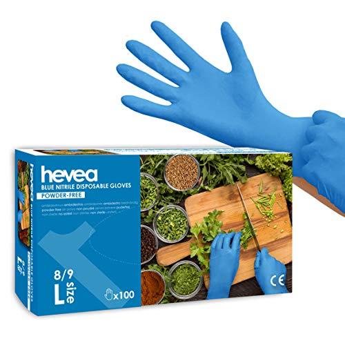 Hevea - Einweghandschuhe aus Nitril. Puder- und latefrei. 1 Karton mit 100 Handschuhen. Größe: L...