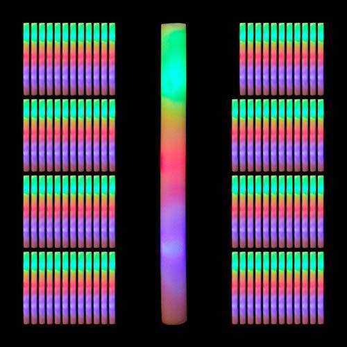 Relaxdays 96 x Leuchtstab LED, Bunte Blinkstäbe, Leuchten in 3 Modi, aus Schaumstoff, Batterien...