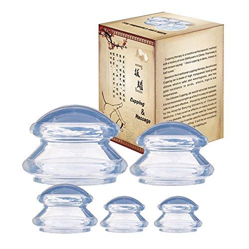 Schröpfglas Silikon Schröpfen Therapie Set Cellulite Entferner Massagegerät 5pcs Tassen...