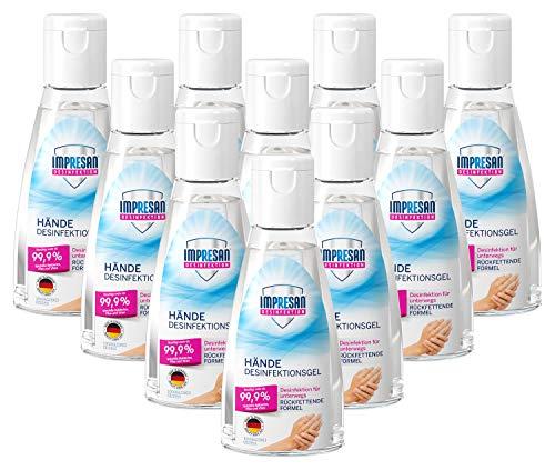 Impresan Hände Desinfektions-Gel: Hand-Reinigung für unterwegs - auch für sensible Haut - 10 x 55...