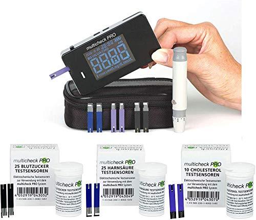 Lifetouch Multicheck PRO (Komplett-Set) mit 25 Blutzucker + 25 Harnsäure + 10 Cholesterol...