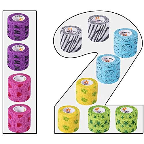 AMATHINGS 12 Stück selbsthaftende Bandagen für Kinder 5cm breit 450 cm lang