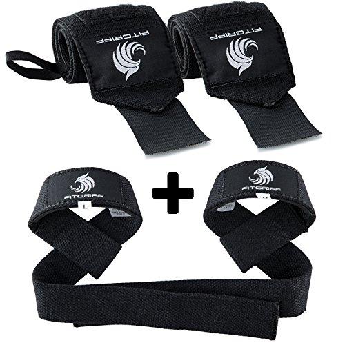 Fitgriff Handgelenk Bandagen + Zughilfen (2Paar/4Stück) Premium Fitness Set für Kraftsport,...