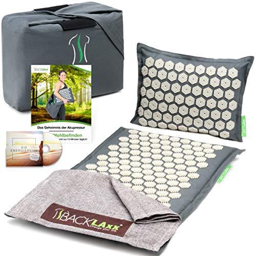 BACKLAxx ® Akupressurmatte Set - Entspannung für Rücken, Nacken, Schulter und Fuß - Massagematte...