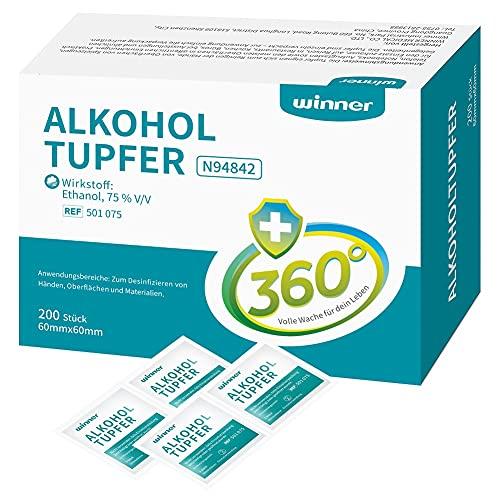 Winner Medical 200 Stück 75% Ethanol Alkoholtupfer,4-lagige quadratische Wattepads, gut getränkt...