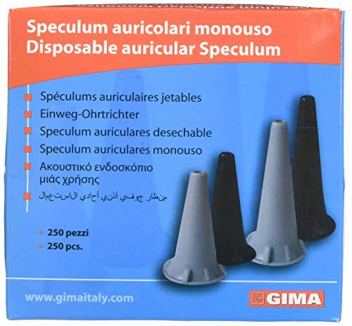 GIMA - Mini Einweg-Ohrenspekulum, Ø 2.5 mm, Schwarze Farbe, Latexfrei, Packung mit 250 Stücken