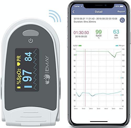 EMAY Schlafmonitor, Bluetooth-Sauerstoffmonitor zur Verfolgung von Sauerstoff und Herzfrequenz über...