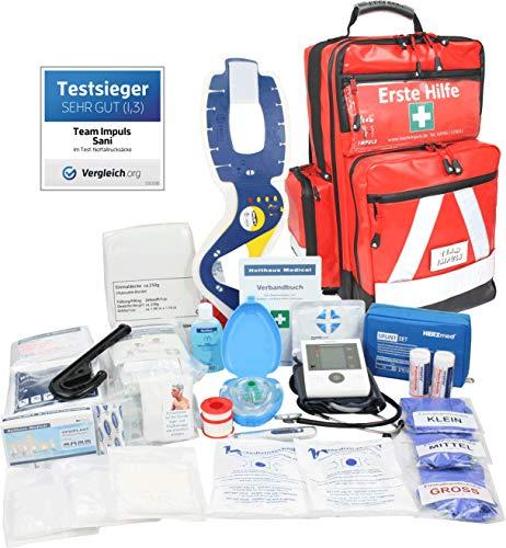 PROFI Erste Hilfe Notfallrucksack Betriebssanitäter aus Plane mit aut. Blutdruckmessgerät von Team...