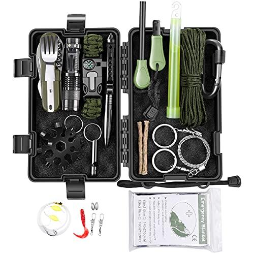 Survival Kit 15 in 1, Außen Notfall Survival Kit mit Rettungsdecke, Paracord Armband, Taschenlampe...