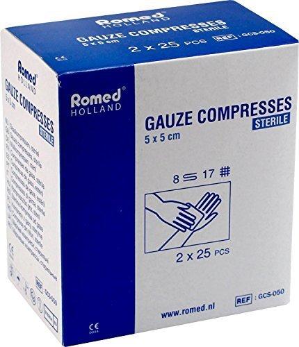 Romed sterile Mullkompressen Wundkompressen von Romed (5 x 5 cm), 50 Stück