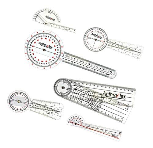 AnthroFlex 6-teiliges Goniometer Set: 30 cm, 20 cm, 15cm, 17cm, Finger, Rückgrat - für...