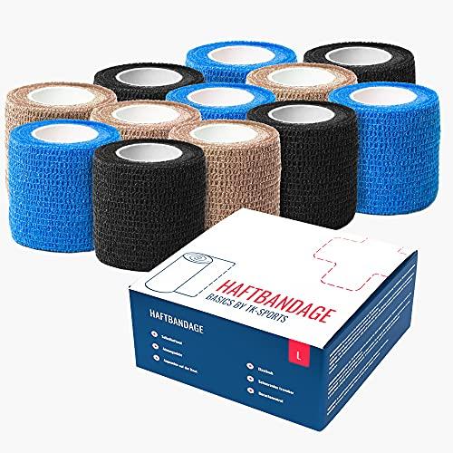TK-Sports Haftbandage (24/12 Rollen) - Selbstklebender Verband (5cm breit x4,5m) Fixierbinde...