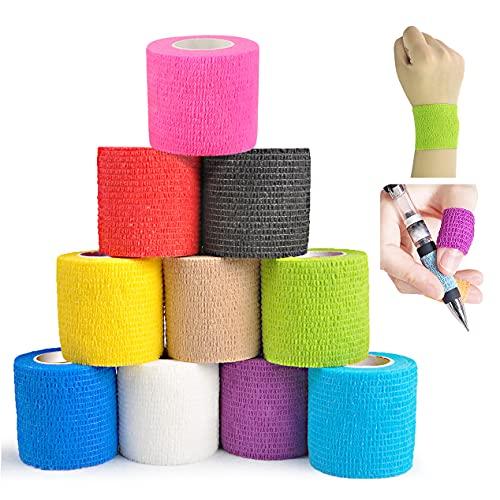 Viskoelastische Bandage (10 Rollen), weiche und bequeme selbstklebende Bandage Vlies Sportbandage,...