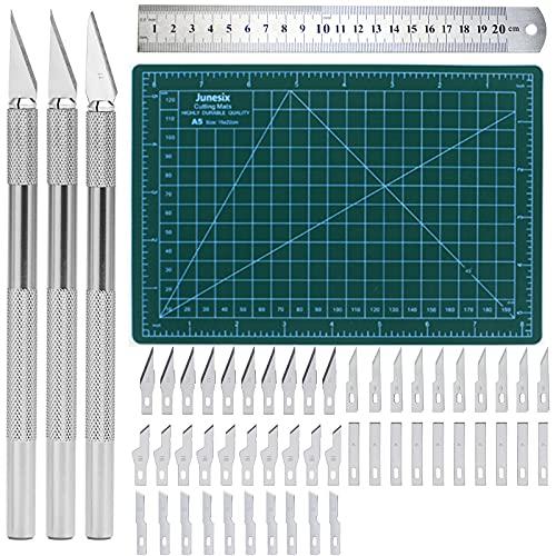 Precision Craft Hobby Messer Set Enthält 50 Ersatzklingen Skalpell mit 3 Griffen,1 A5...
