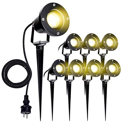 VINGO 8 Stück Gartenstrahler mit Erdspieß, 4w GU10 LED Warmweiß Gartenbeleuchtung mit Stecker,...