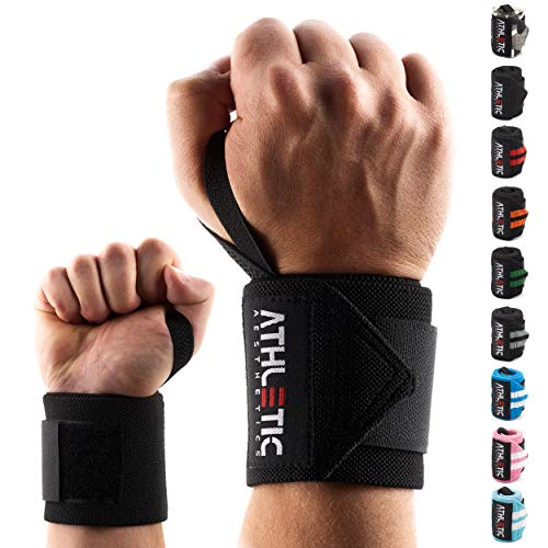 ATHLETIC AESTHETICS Handgelenkbandagen [2er Set] in 45cm + Grundübungs Guide - Wrist Wraps fürs...