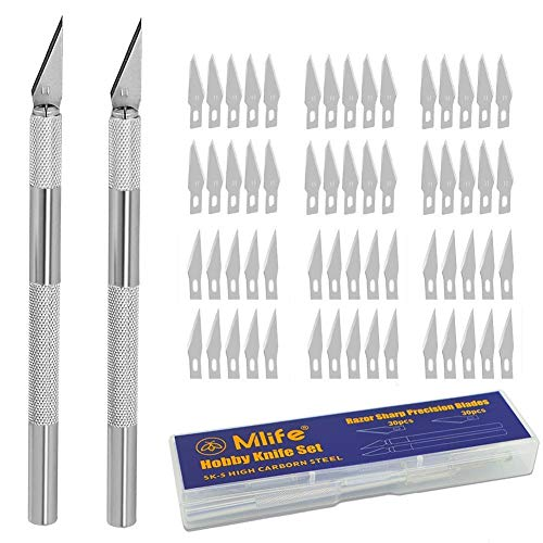 Mlife Precision Carving Craft Messer Set 60 Ersatzklingen Skalpell Schnitzmesser für DIY Art Work...