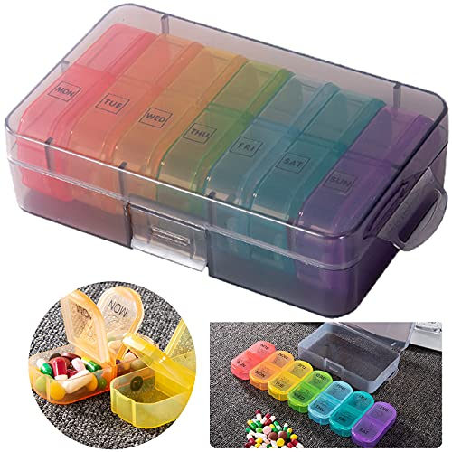 iPucool Tablettenbox 7 Tage,Pillendose Rund 7 Tage 2 fächer Morgens Abends,Handlicher und...