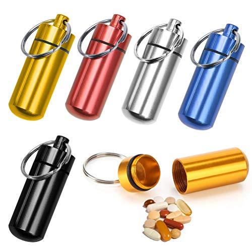 BUYGOO 6PCS Pillenbox Pillendose Tablettenbox - Aluminium Mini Pille Box ca. 48x17mm mit...