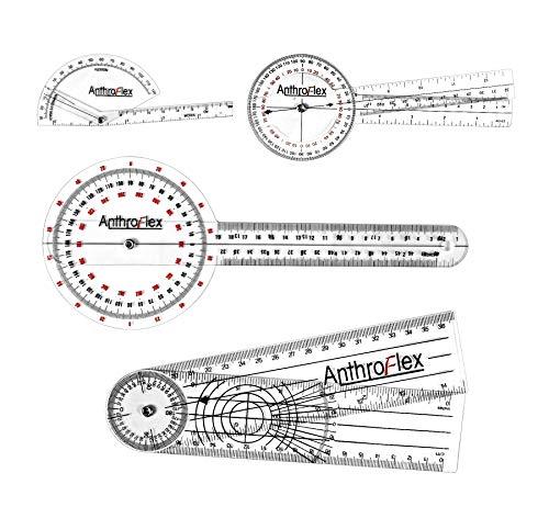 AnthroFlex 4-teiliges Goniometer Set: 30 cm, 20 cm, Finger, Rückgrat - für Physiotherapie