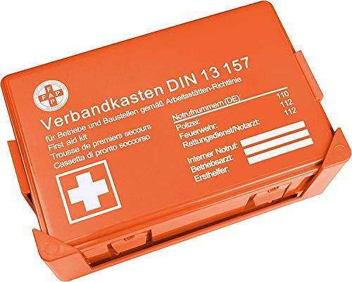HierBeiDir Betriebsverbandskasten DIN 13157, Erste Hilfe Koffer mit Wandhalterung, Verbands-Kasten...