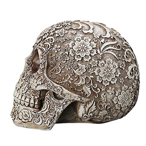 Gazechimp Menschlichen Schädel mit Blumen - Modell, Haus Tisch Ornament Halloween-Dekor