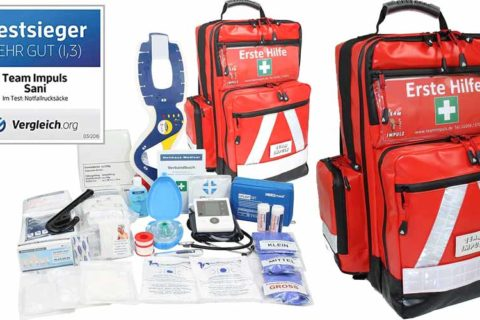 gefüllter Notfallrucksack